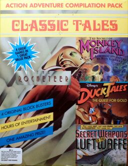 Classic Tales (includes The Rocketeer, Duck Tales - The Quest for Gold, Secret Weapons of the Luftwaffe and The Secret of Monkey Island) (Sega OziSoft) (IBM PC) (missing 3 codewheels)