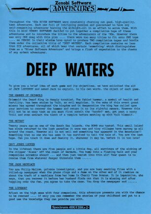 Deep Waters (The Hammer of Grimmold, The Mutant, Davy Jones Locker, The Jade Necklace, The Lifeboat, Realm of Darkness, The Enchanted Cottage, Matchmaker, The Cup, Jack and the Beanstalk, The Challenge and The Witch Hunt) (ZX Spectrum)