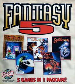 Fantasy 5 (King's Quest II: Romancing the Throne; Populous; Magic Candle III, The; Might & Magic III: Isles of Terra; The Summoning) (Slash) (IBM PC)