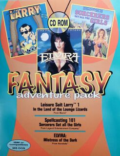 Fantasy Adventure Pack (Leisure Suit Larry in the Land of the Lounge Lizards; Spellcasting 101: Sorcerers Get all the Girls; Elvira) (Slash) (IBM PC)