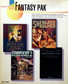 Fantasy Pak: Seven Cities of Gold Commemorative Edition, Starflight 2: Trade Routes of the Cloud Nebula, The Lost Files of Sherlock Holmes, Ultima VII: The Black Gate (IBM PC)
