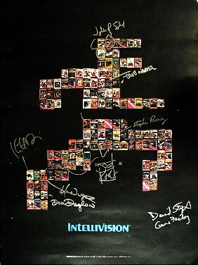 Intellivision Running Man Poster (autographed by the Blue Sky Rangers - Don Daglow, Joe King, Karen Nugent, Keith Robinson, Stephen Roney, John Sohl, David Stifel and Dave Warhol)