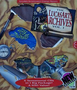 LucasArts Archives, The: Volume I (Star Wars: Rebel Assault Special Edition, Maniac Mansion 2: Day of the Tentacle, Indiana Jones and the Fate of Atlantis, Super Sampler CD, Star Wars Screen Entertainment, Sam & Max Hit the Road)