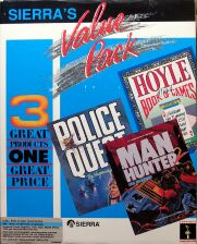 Sierra's Value Pack: Police Quest 2: The Vengeance, Manhunter 2: San Francisco, Hoyle Official Book of Games Volume I (IBM PC) (missing Police Quest 2 manual)